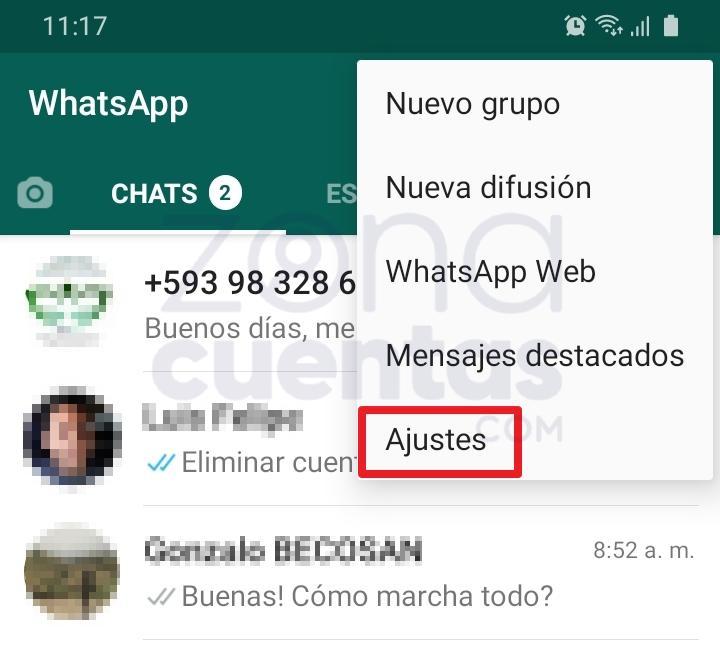 Acceder a Ajustes de WhatsApp