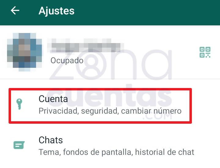 Acceder a Ajustes para borrar cuenta de WhatsApp 1
