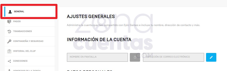 Ajustes generales en Epic Games