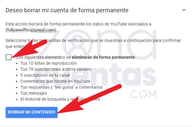Borrar mi contenido en YouTube