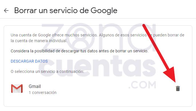 Borrar una cuenta de Google