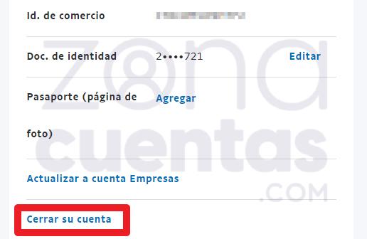 Cerrar cuenta de PayPal