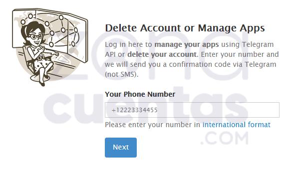 Cómo borrar mi cuenta de Telegram