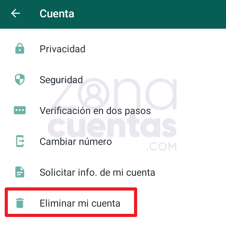 Cómo eliminar mi cuenta de WhatsApp