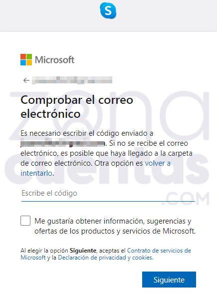 Comprobar email en Skype