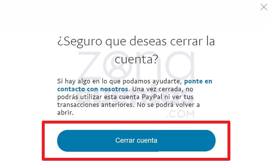 Confirmar cerrar cuenta de PayPal