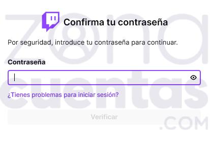 Confirmar contraseña en Twitch