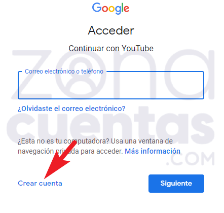 Crear una cuenta de YouTube pasos
