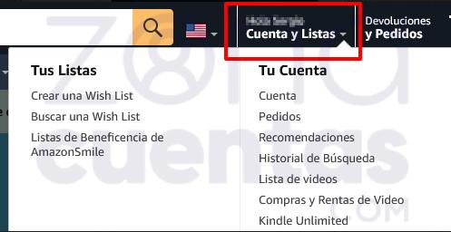Cuentas y listas Amazon Prime