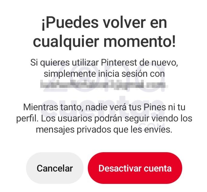 Desactivar cuenta de Pinterest