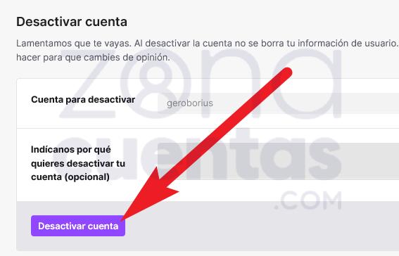 Desactivar una cuenta de Twitch