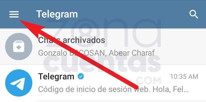 Dirigirse a Ajustes de Telegram