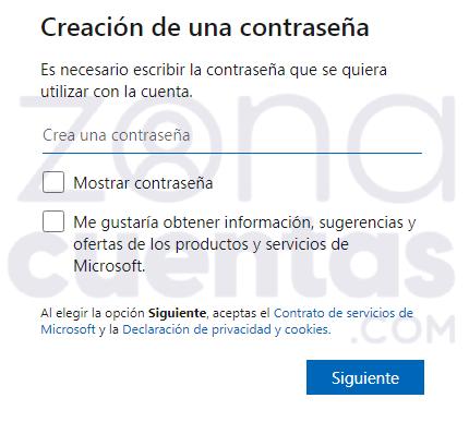 Elegir contraseña en Hotmail