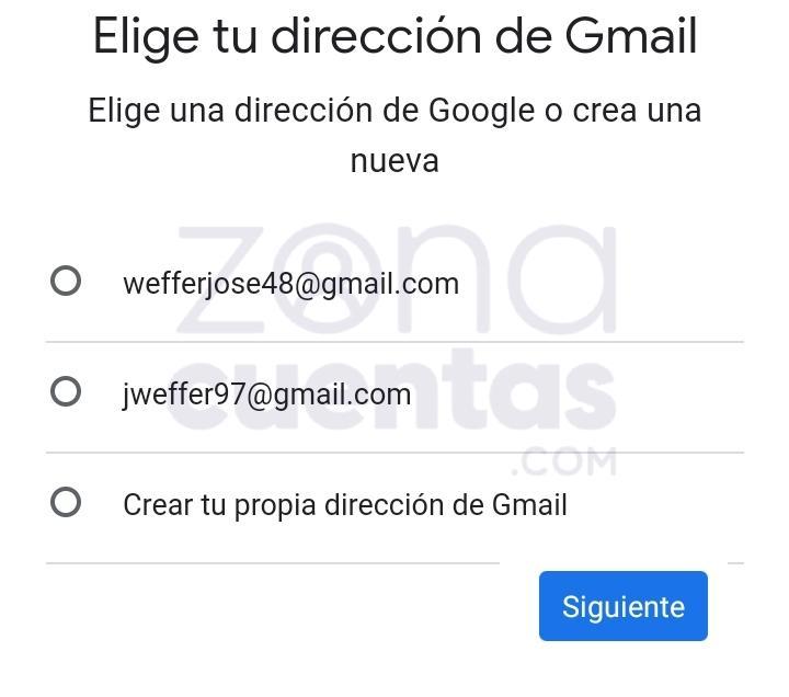 Elegir mail para Gmail