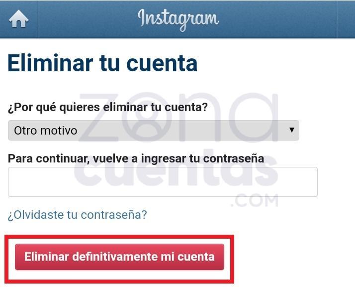 Eliminar permanentemente tu cuenta de Instagram