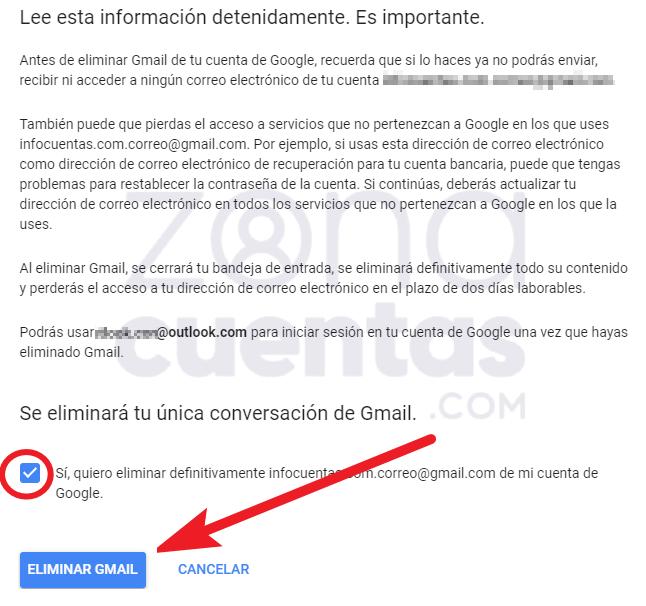 Eliminar tu conversación de Gmail