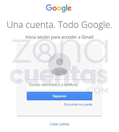 Formulario de inicio de sesión en Gmail