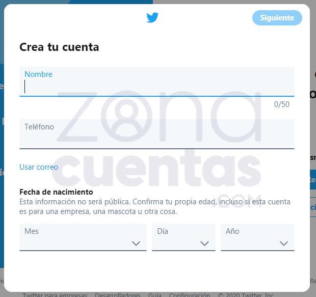 Formulario de registro en Twitter