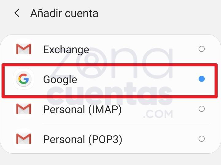 Google Gmail cuenta