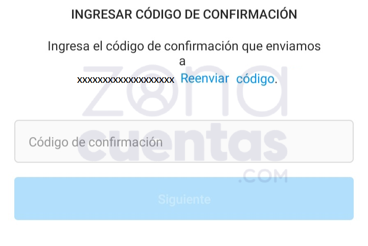 Ingresar código de confirmación con email