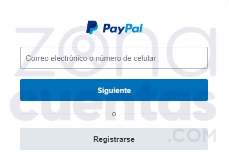 Ingresar correo o teléfono en PayPal