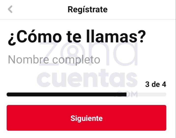 Ingresar nombre para registro en Pinterest