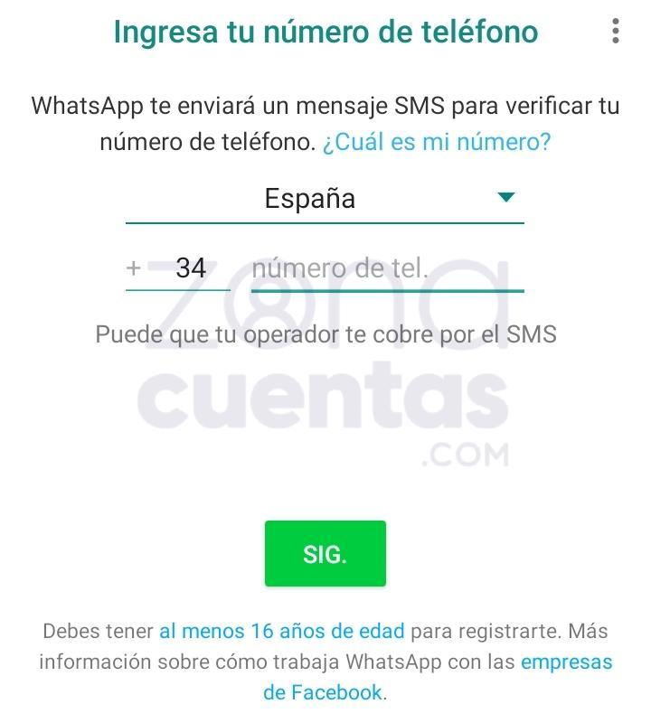 Ingresar número para WhatsApp