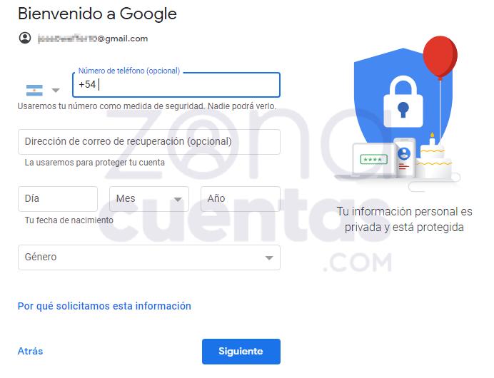 Ingresar número telefónico en Gmail