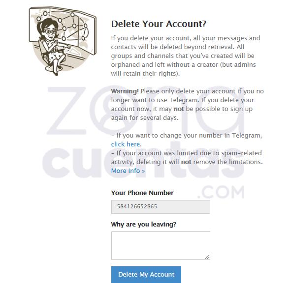Pasos para borrar una cuenta de Telegram