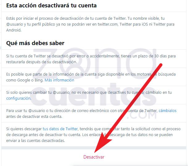 Pasos para desactivar cuenta de Twitter