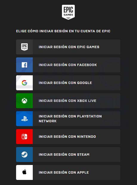 Pasos para iniciar sesión en Epic Games