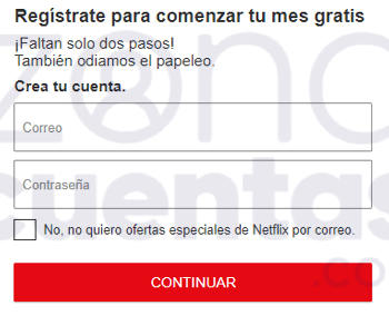 Plantilla de registro de Netflix