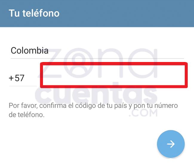 Registrar teléfono en Telegram