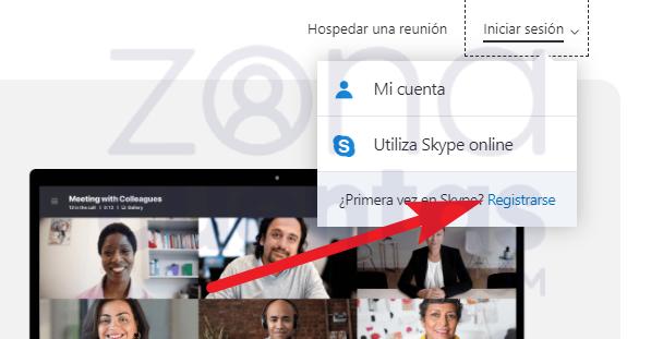 Registrarse en Skype web