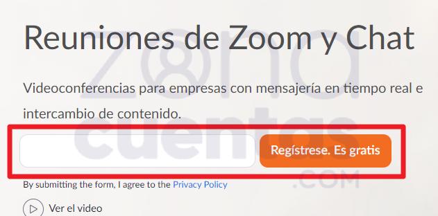Registrarse gratis en Zoom