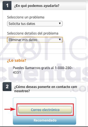 Solicitar eliminación de cuenta en Amazon Prime