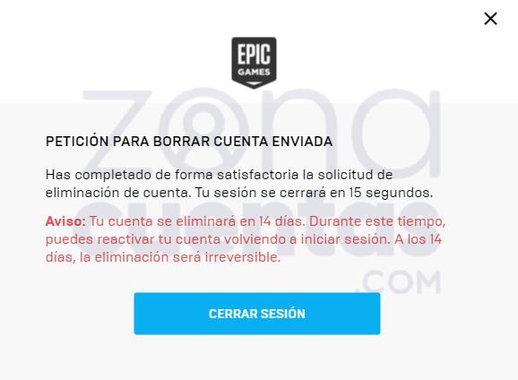 Solicitud de eliminación de cuenta de Epic Games enviada