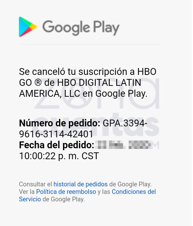 Suscripción cancelada de HBO LATAM