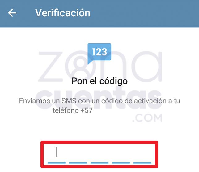 Verificar código en Telegram