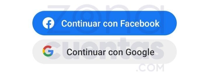 Continuar con Facebook o Google en Pinterest app
