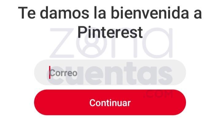 Ingresar correo y usuario para iniciar sesión en Pinterest app