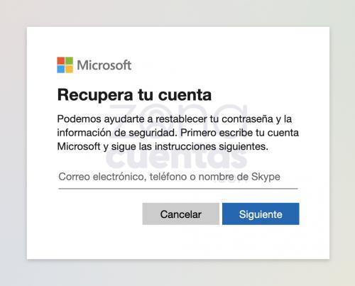 recupera tu cuenta Microsoft