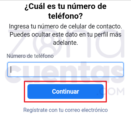 Abrir cuenta con teléfono en Messenger