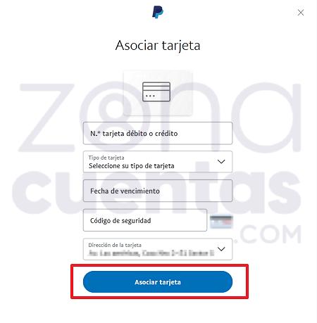 Asociar tarjeta para verificar cuenta de PayPal