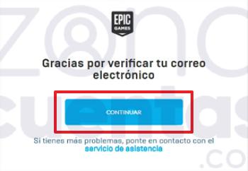 Botón de verificación de cuenta de Epic Games