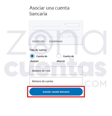 Botón para asociar cuenta de Paypal
