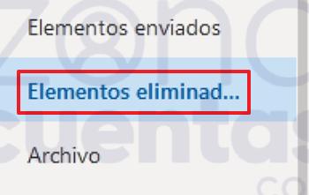 Carpeta de elementos eliminados de Hotmail