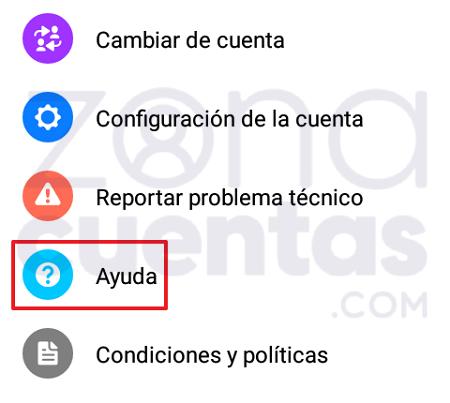 Configuración para abrir cuenta de Messenger