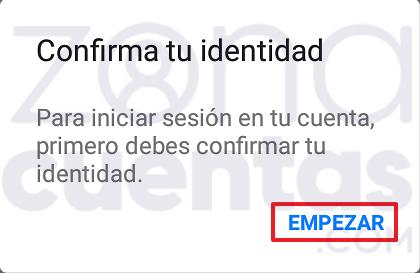 Confirmar identidad en Messenger