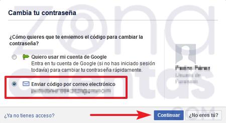 Enviar código por correo para recuperar cuenta de Facebook
